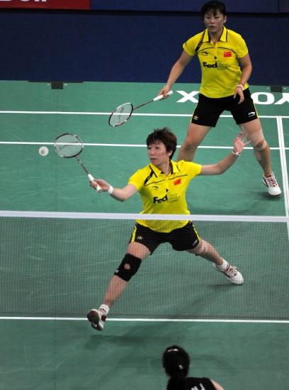 图图文-尤杯决赛马晋/王晓理双打丢分网前处理球