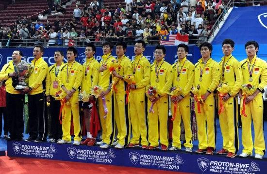 图文-汤杯中国横扫印尼豪取四连冠国羽注视升国旗