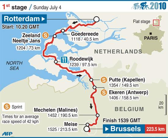 图文-2010年环法自行车赛赛段图解第1赛段
