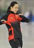 张虹在比赛前热身