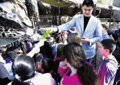 姚明与孩子们一起参观动物园