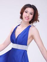 陈晓佳蓝色长裙