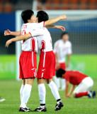 朝鲜队庆祝第三球