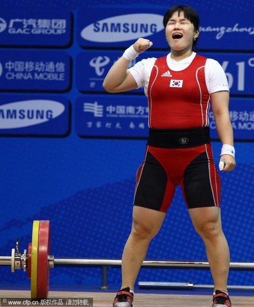 韩国运动员竭尽全力