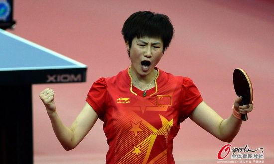 中国队3比1胜日本,图为丁宁。