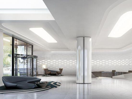 顶层公寓有着私人的玻璃电梯和专属lobby